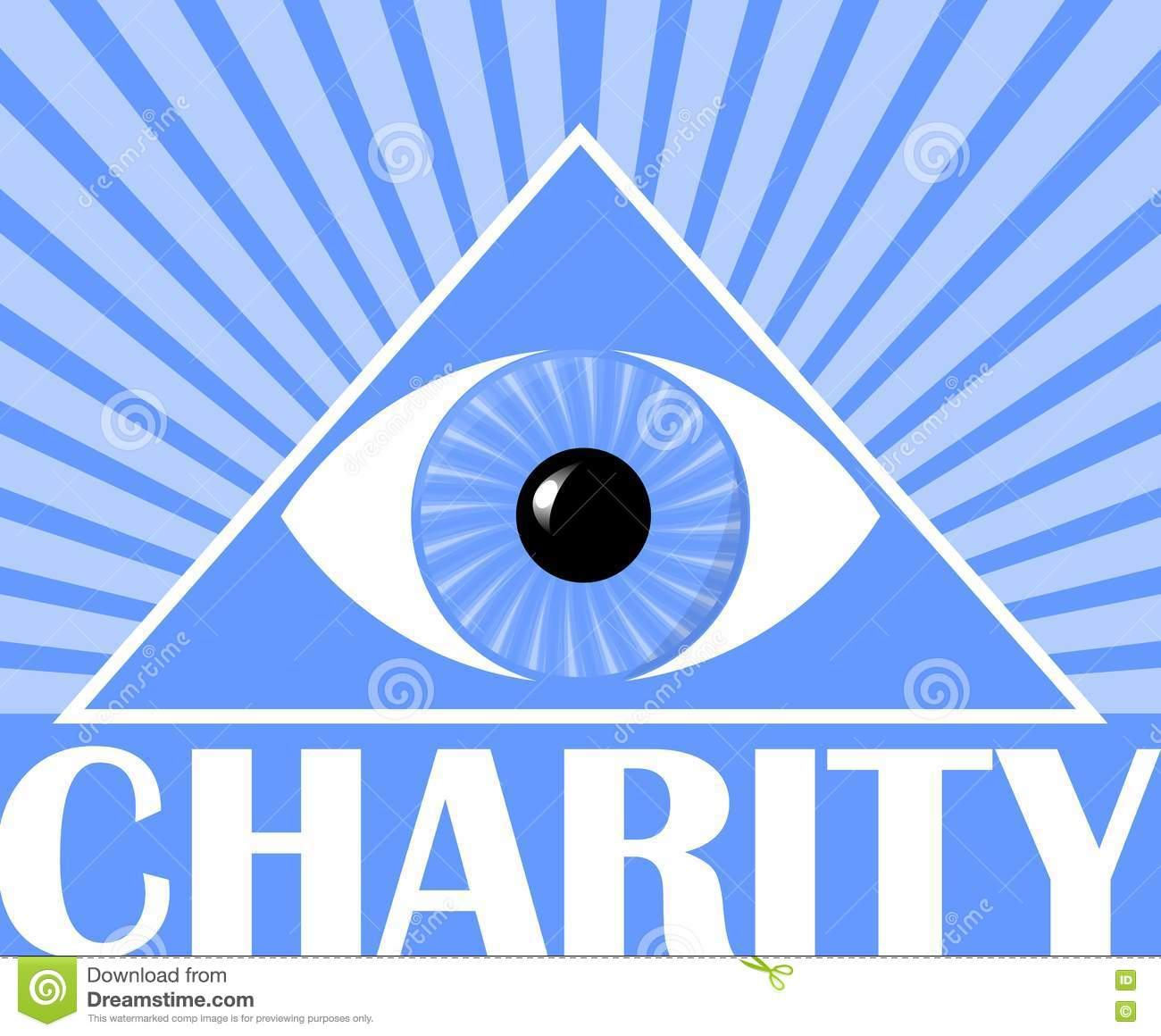 Charity flyer with a symbol of gods eye in triangle blue charity flyer with a symbol of god s eye in triangle blue background with white rays poster for christian charity events buycottarizona