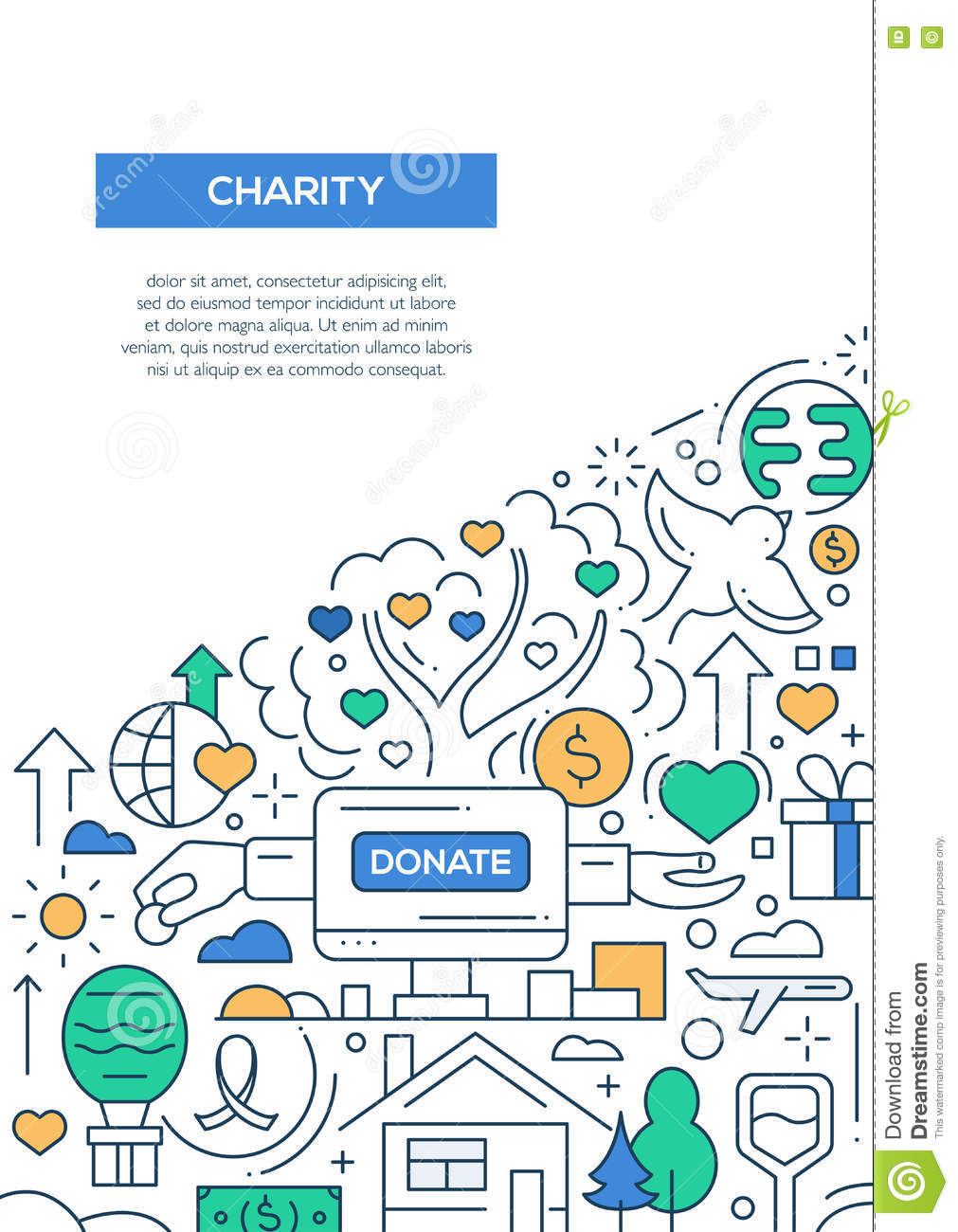 Charity Line Design Brochure Poster Template A4 Stock Vector