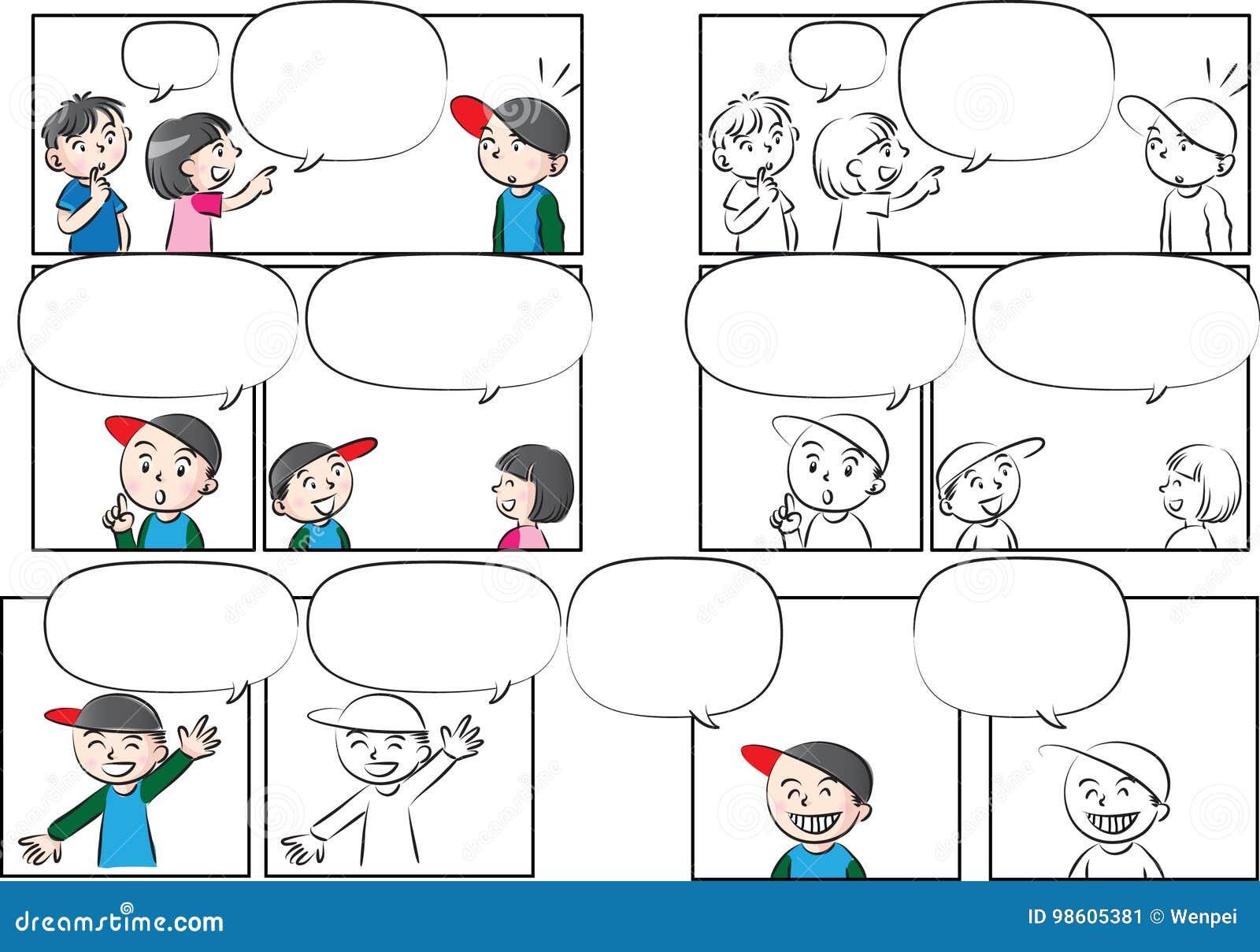 Charla de los niños del dibujo del vector con la burbuja del discurso