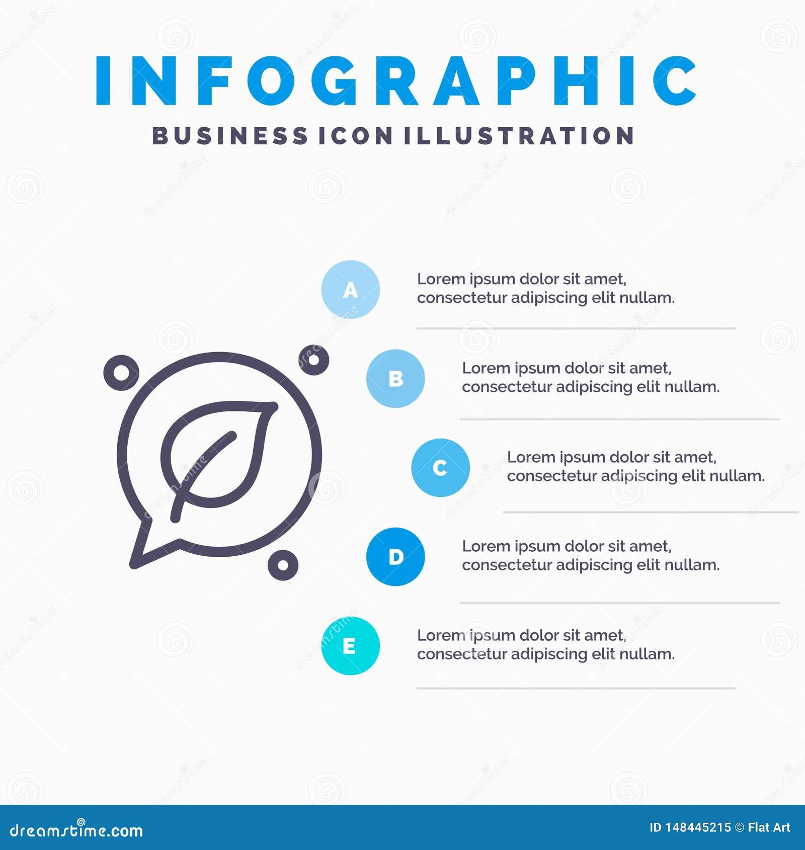 Charla, verde, hoja, línea de ahorro icono con el fondo del infographics de la presentación de 5 pasos