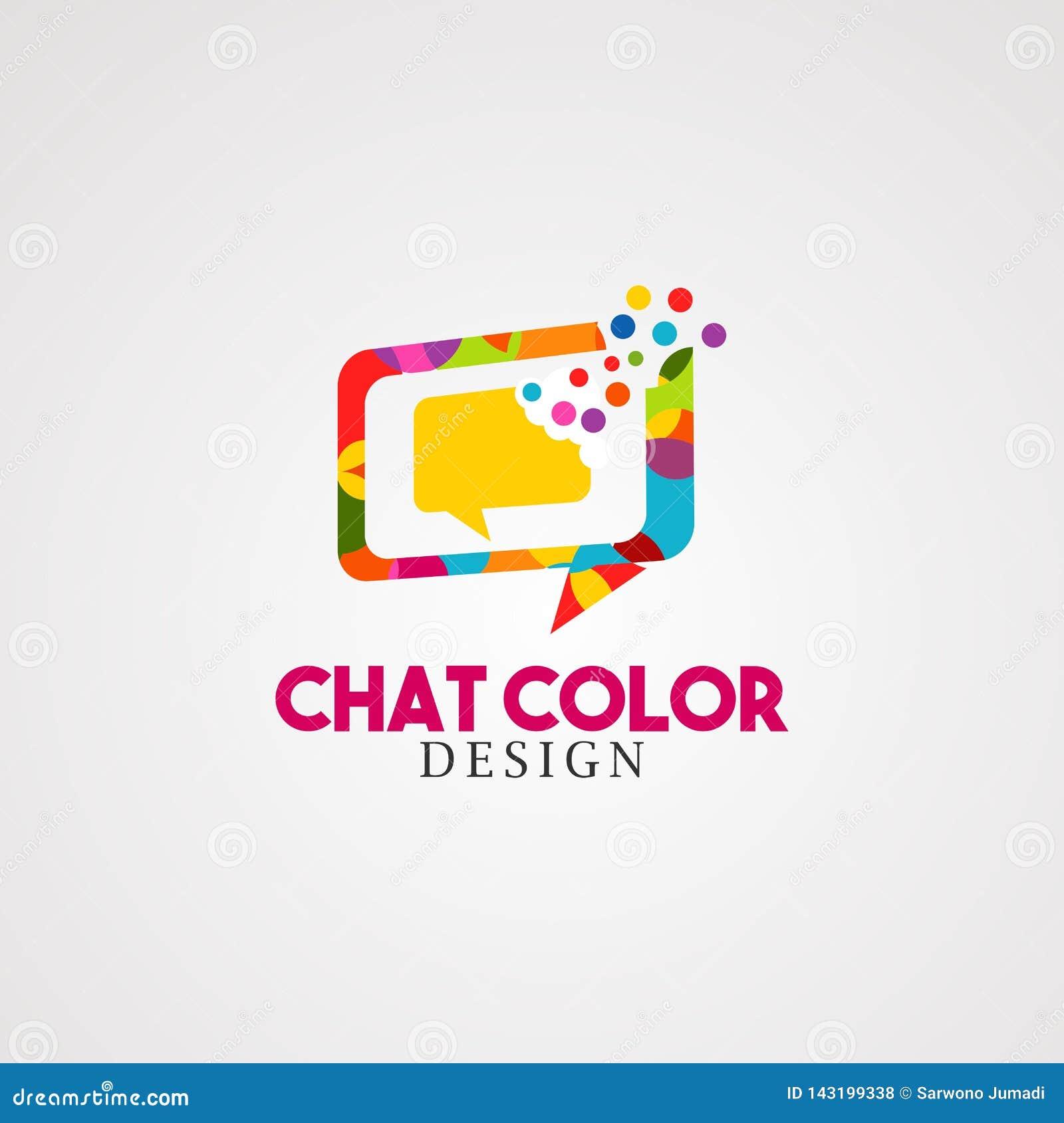 Charle el color con vector, el icono, el elemento, y la plantilla coloridos del logotipo de la caja de la burbuja para el negocio