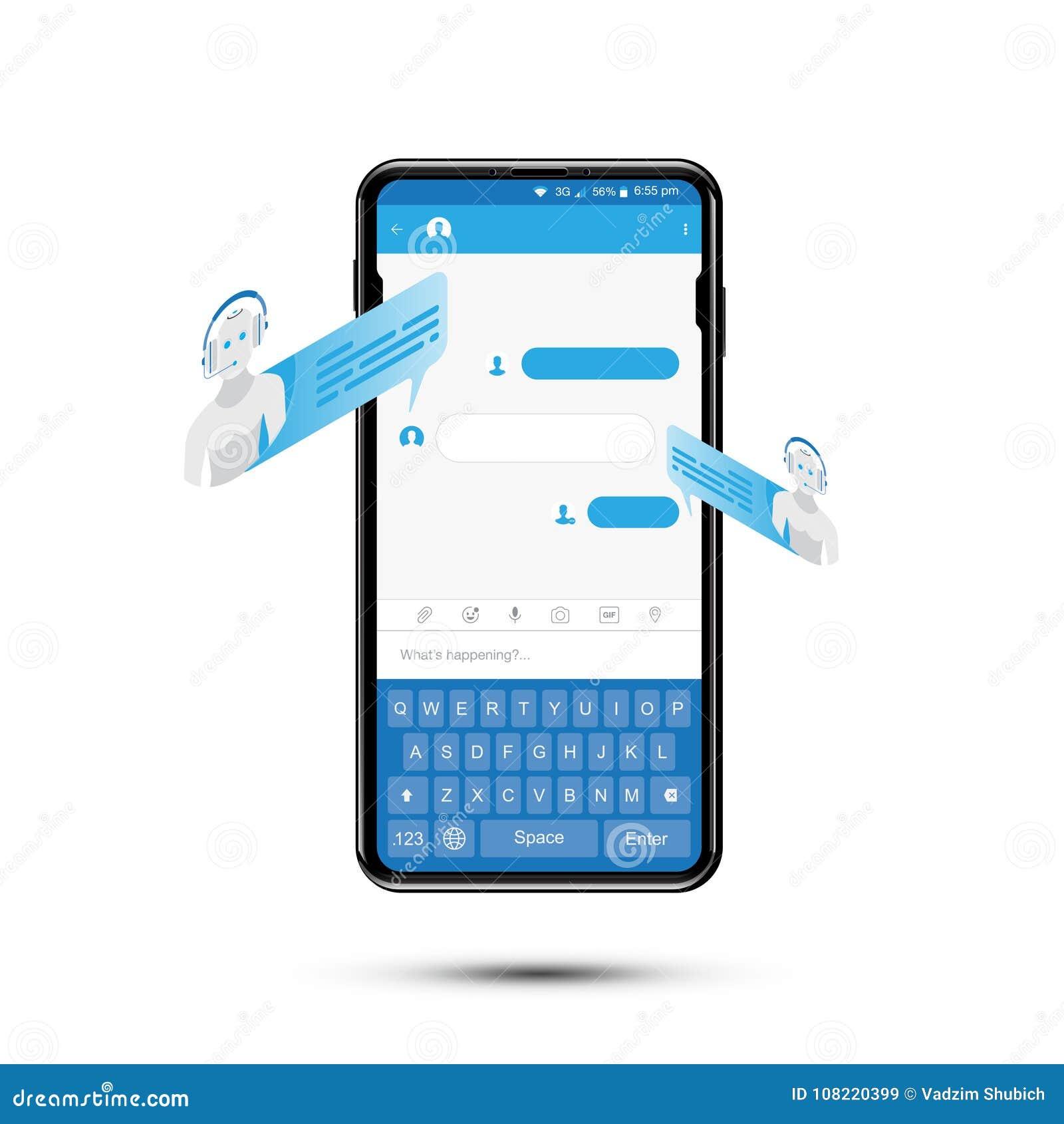 Charle el icono isométrico del bot para el establecimiento de una red social en smartphone realista Concepto social y una charla