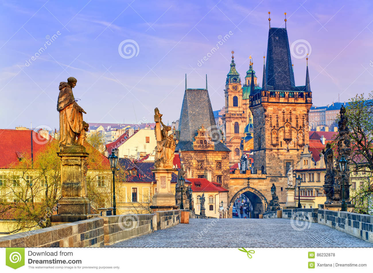 Charles Bridge in Prague old town, Czech Republic