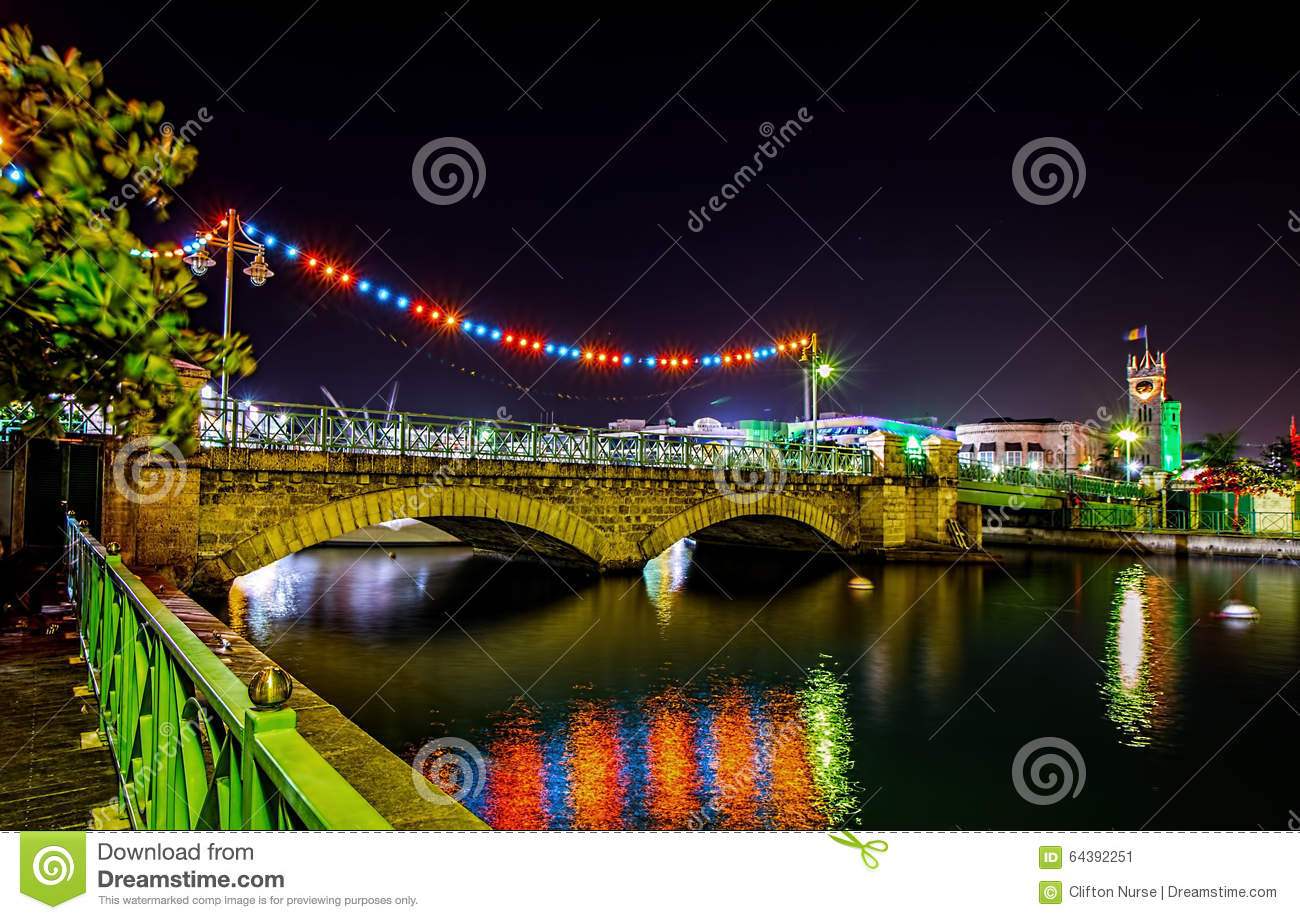 The Chamberlain Swing bridge and Parliament buildings in Bridgetown, Barbados at Christmas and Independence