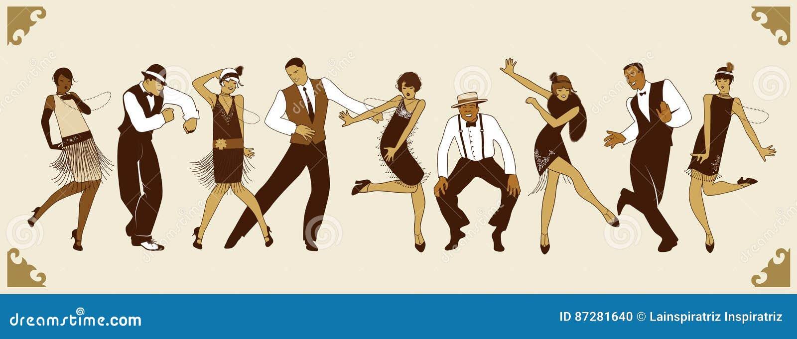 Charleston Party Grupo de gente joven que baila Charleston