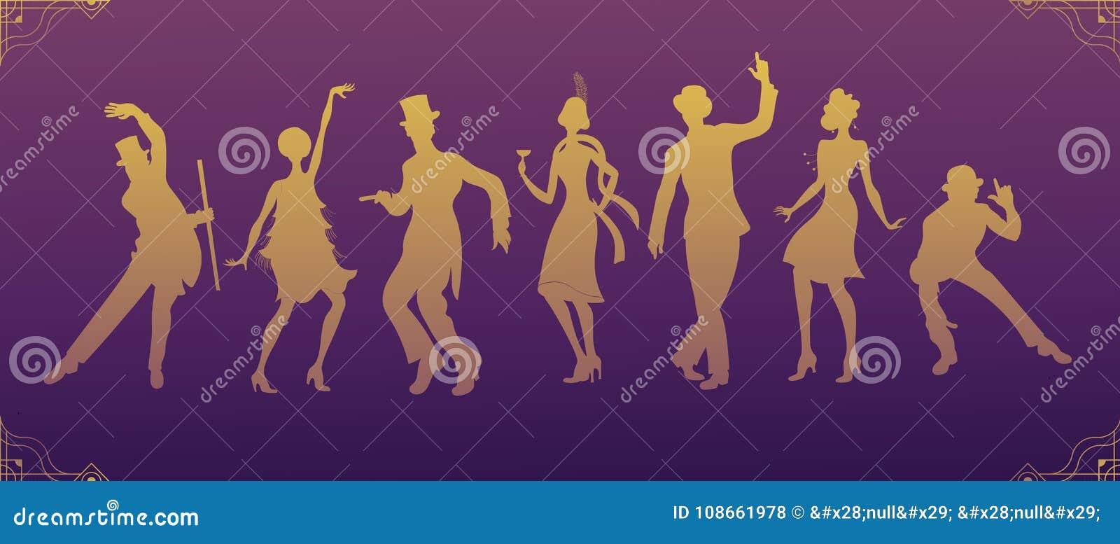 Charleston Party Silueta Negra Del Oro Del Hombre Y De La Mujer Del ...