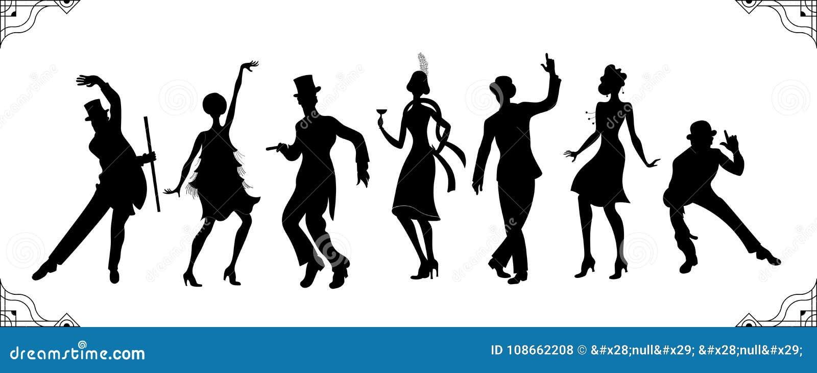 Charleston Party svart kontur för konturman- och kvinnaguld Gatsby stiluppsättning Grupp av den retro mannen som dansar charlesto