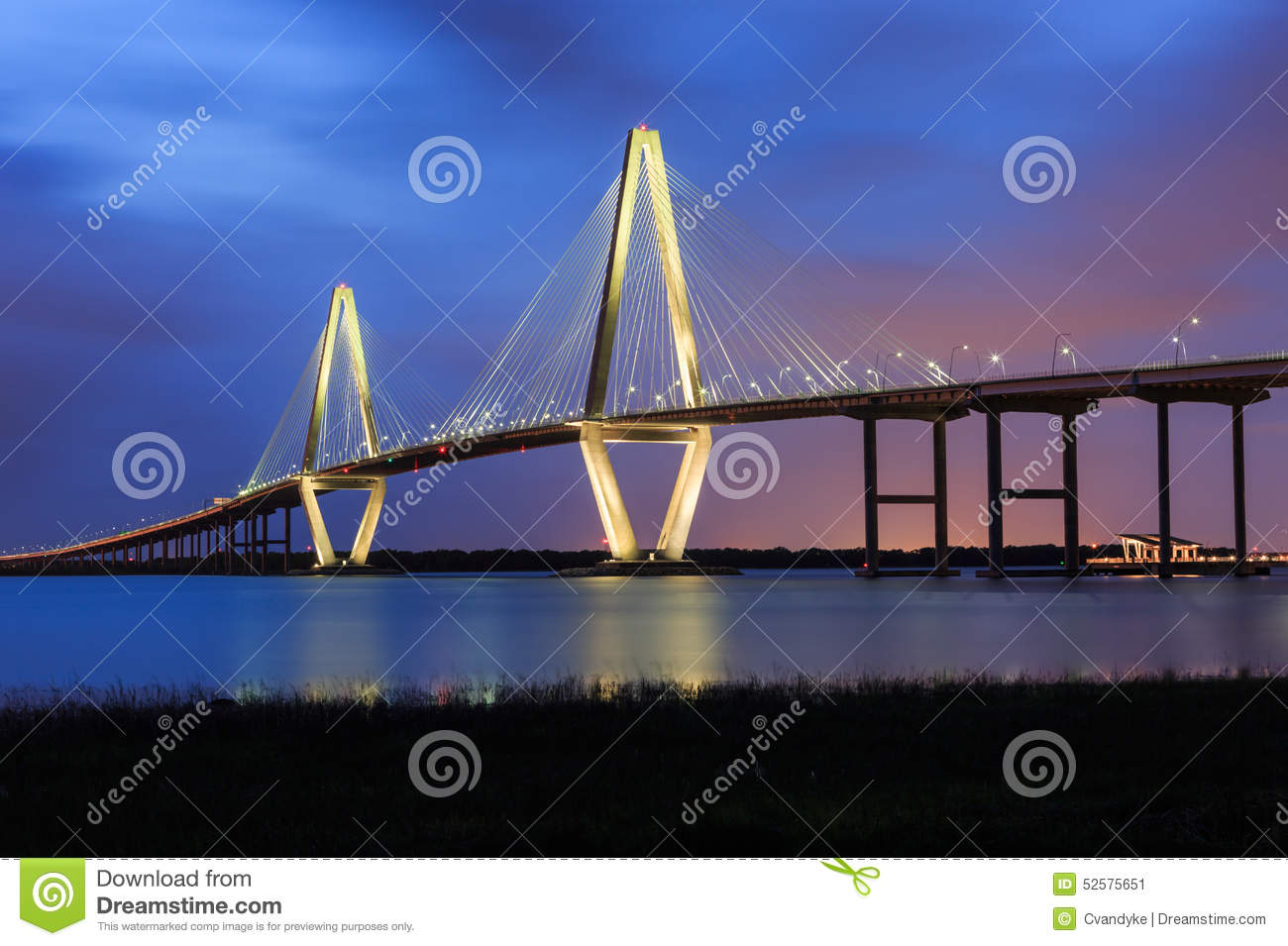 Charleston Ravenel Bridge Blue Hour