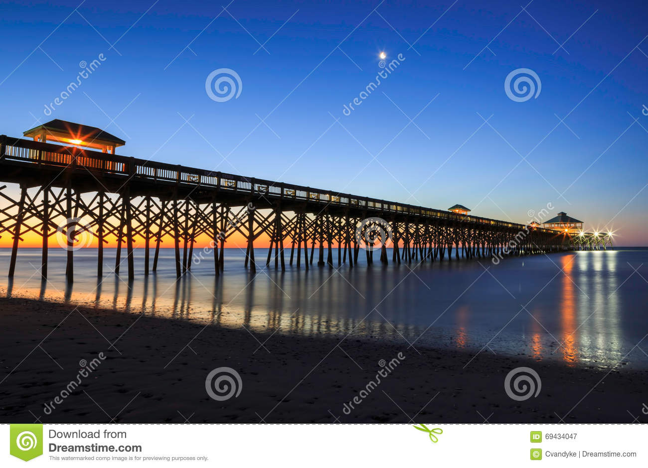 Charleston South Carolina Fishing Pier Folly Beach Stock Image