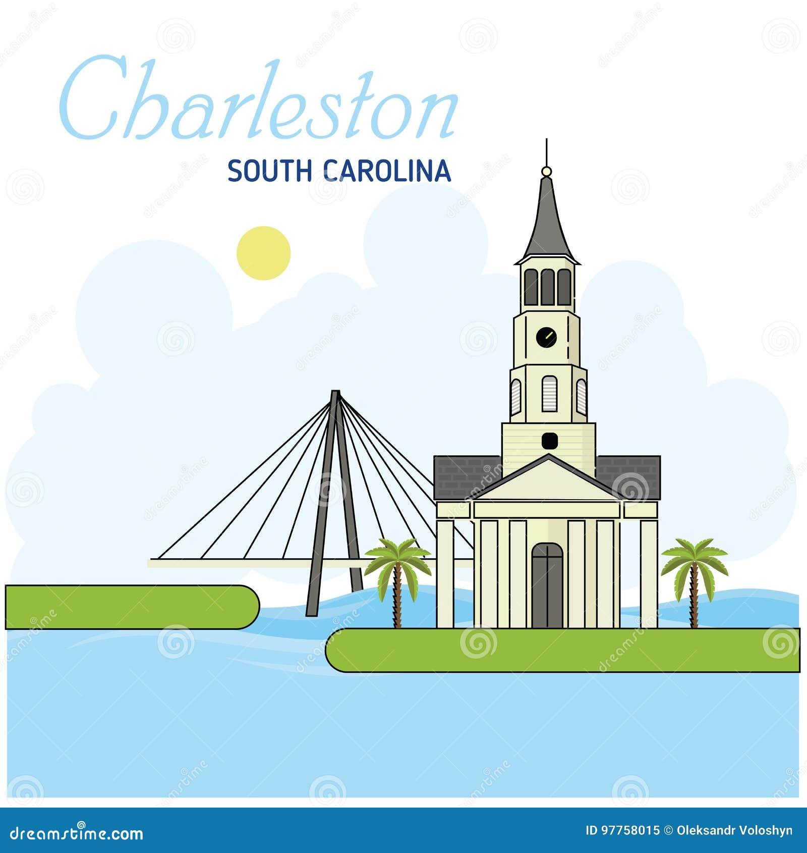 Charleston south carolina również zwrócić corel ilustracji wektora Biznesowej podróży i turystyki pojęcie z nowożytnymi budynkami
