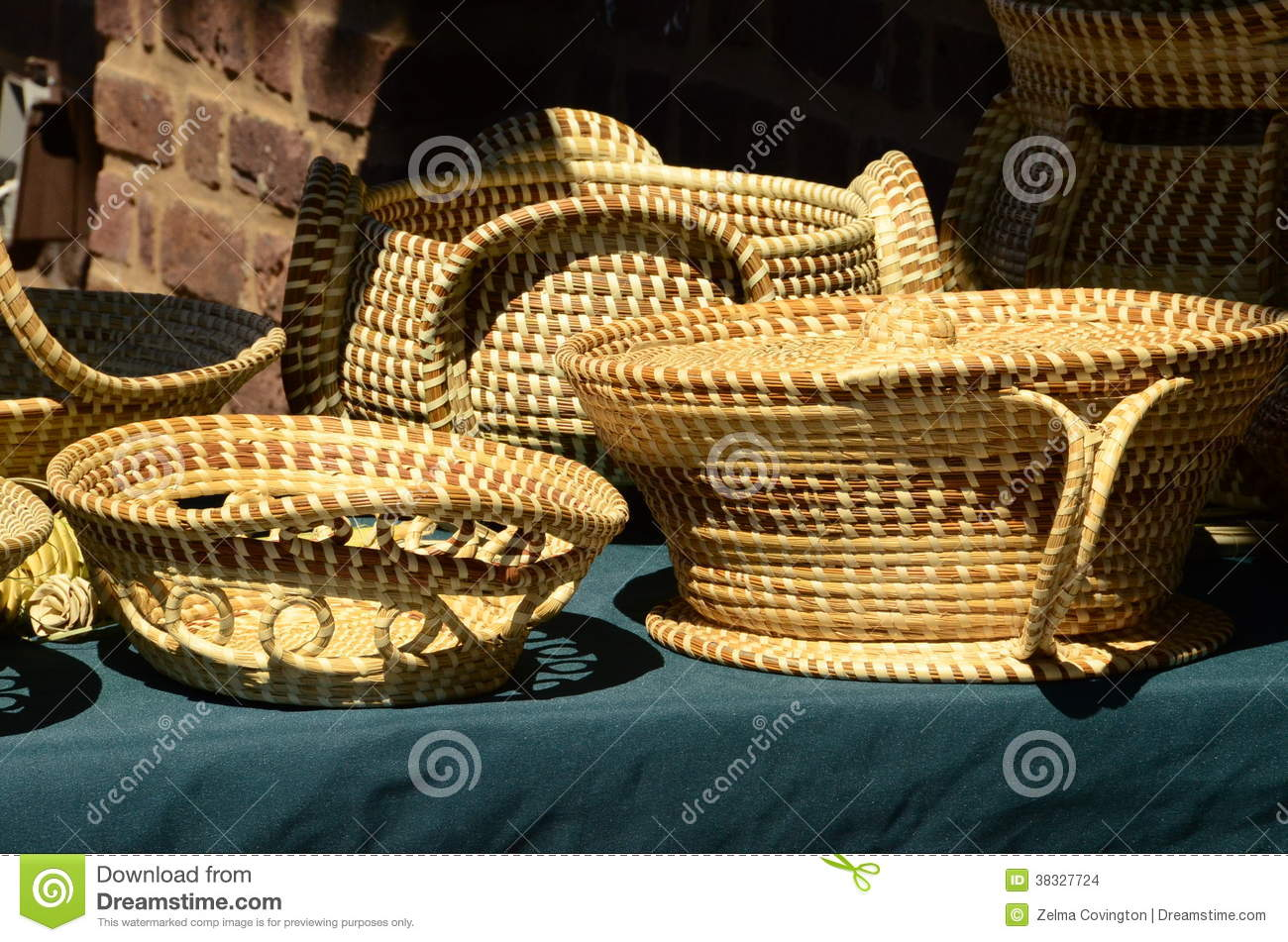 Charleston South Carolina Sweetgrass Baskets Stock Images