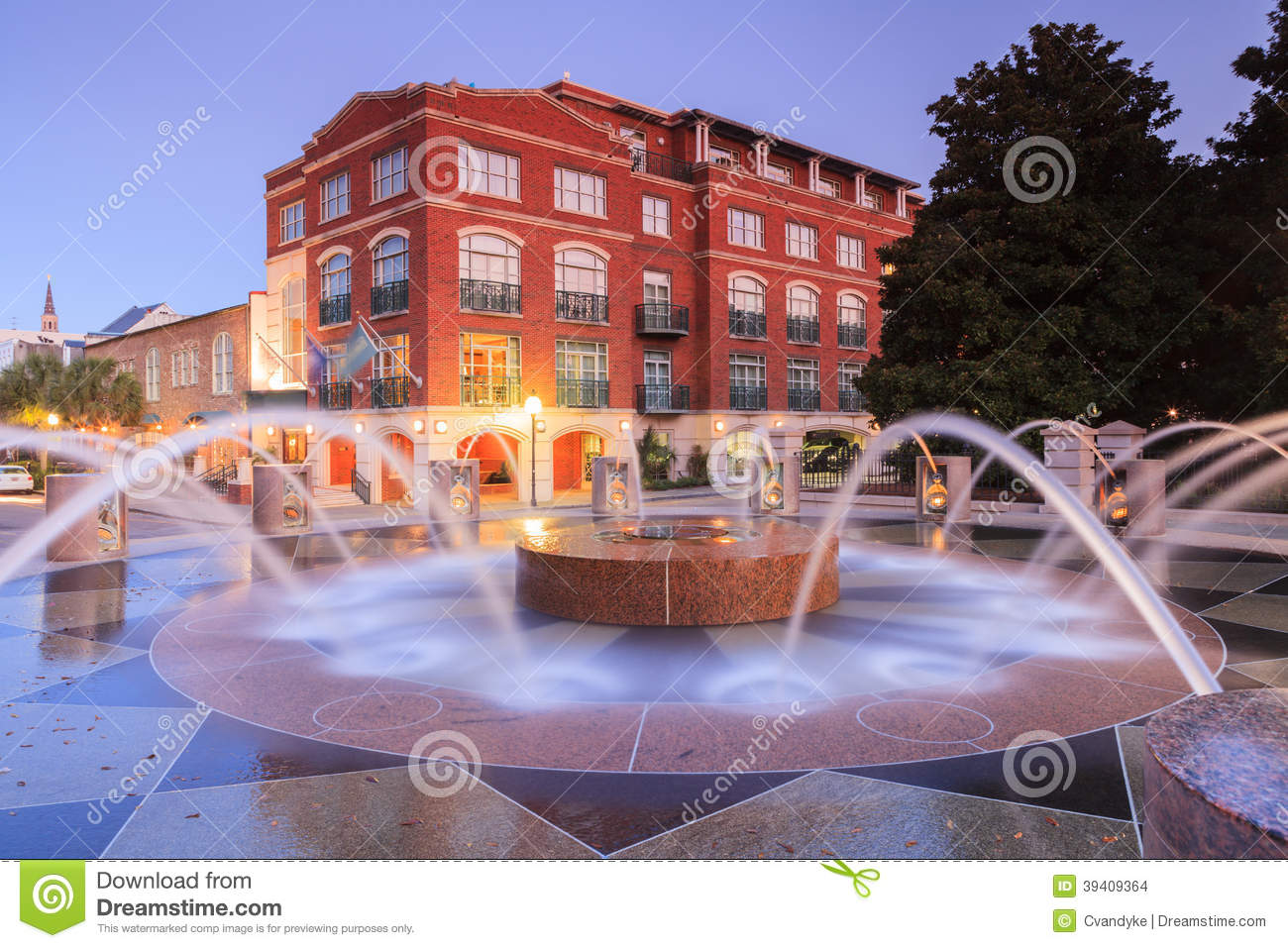 Charleston South Carolina Waterfront Fountain Sc Stock