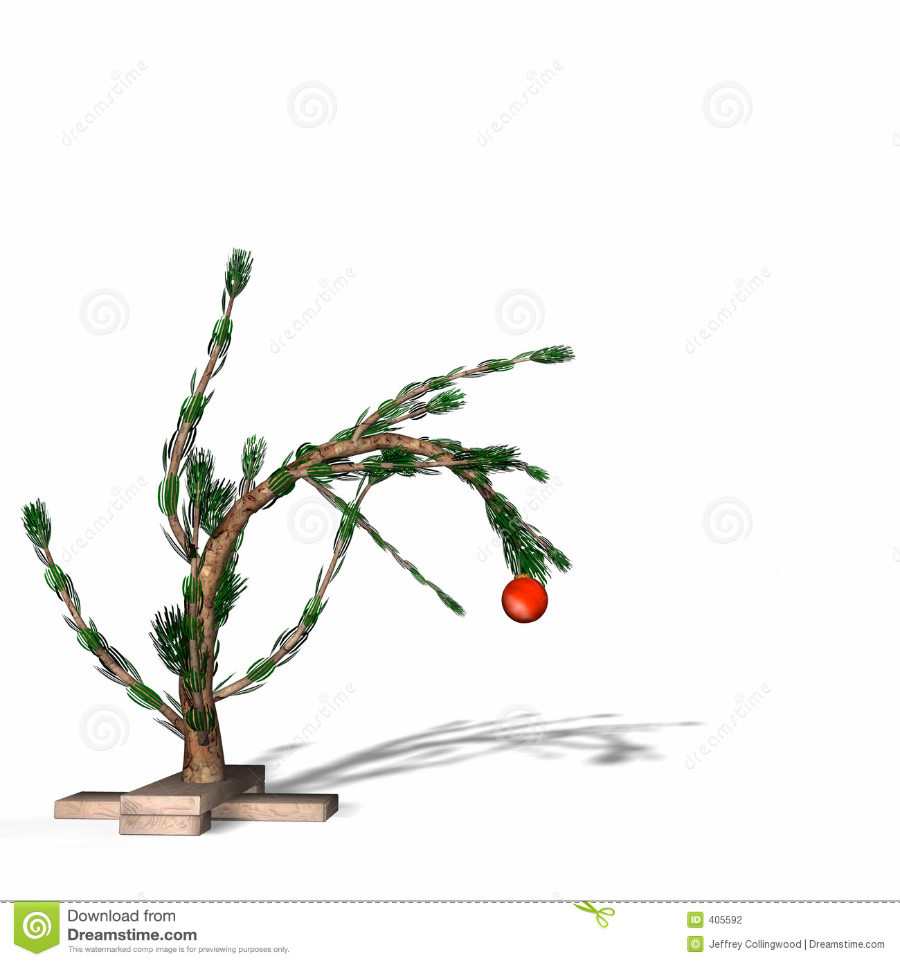 Charlie Brown Style Christmas Tree Stock Illustration - Illustration ...