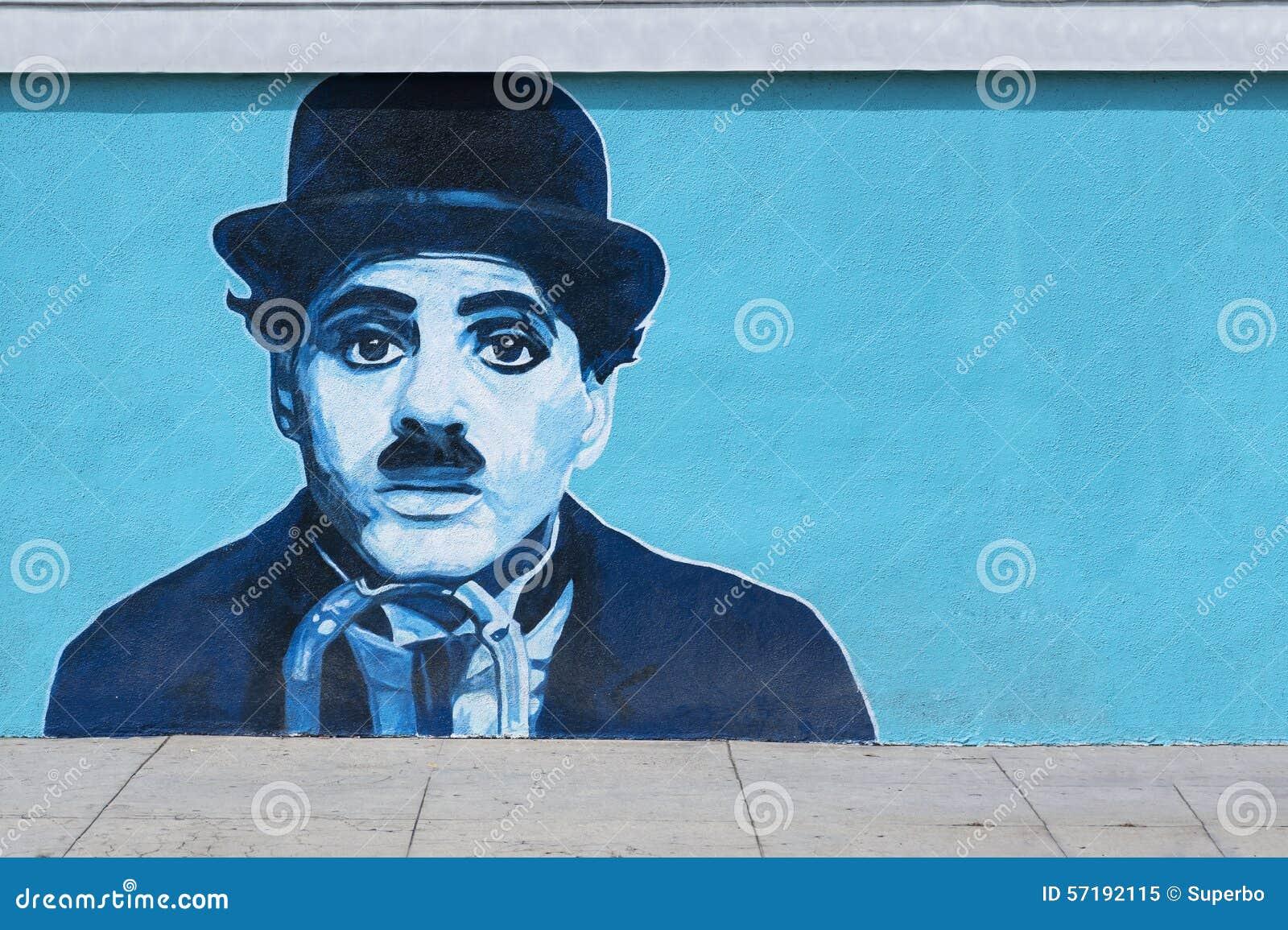 Charlie Chaplin Mural Graffiti på väggen