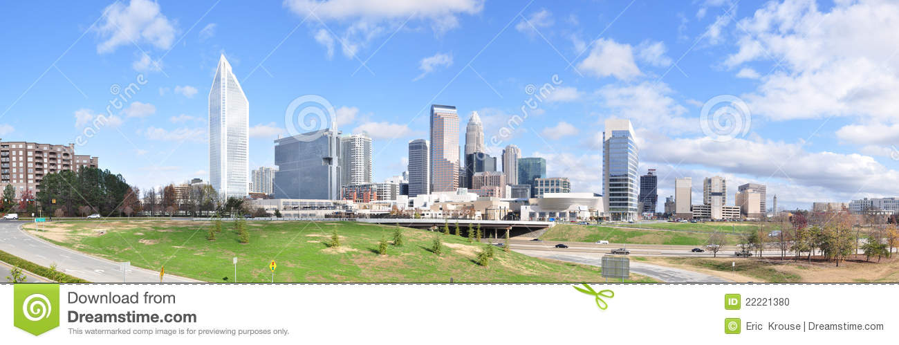 Charlotte North Carolina Panorama Stock Photo Image
