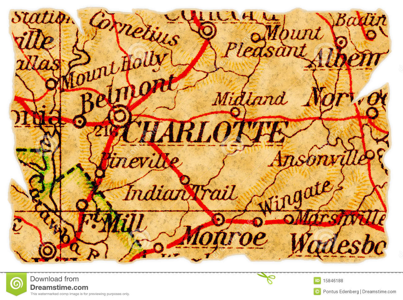 Charlotte Old Map Royalty Free Stock Photos - Image: 15846188