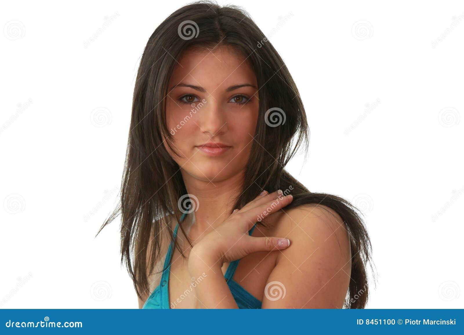 Charmigt ståendebarn för härlig brunett