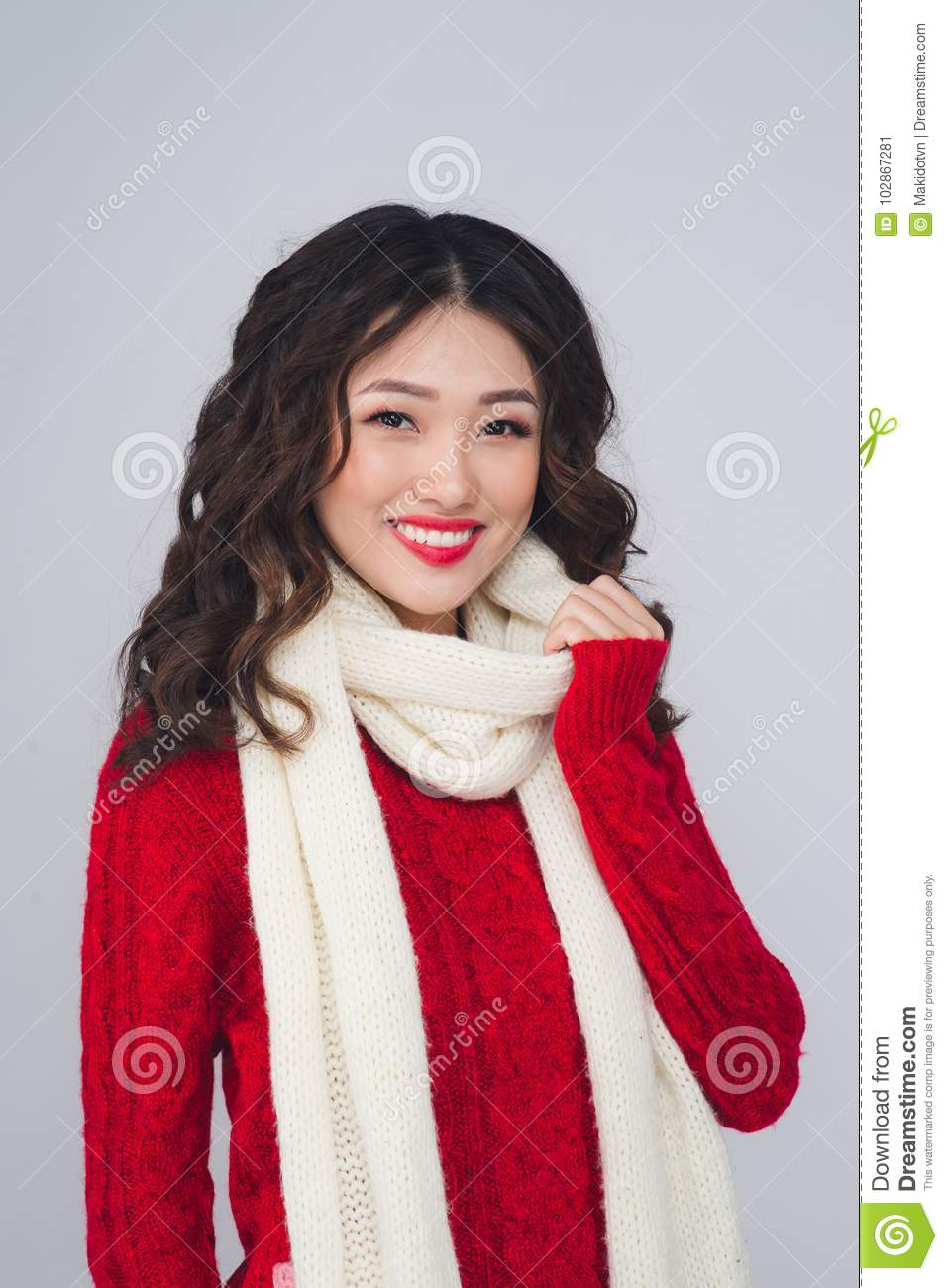 on Young asian coths woman without