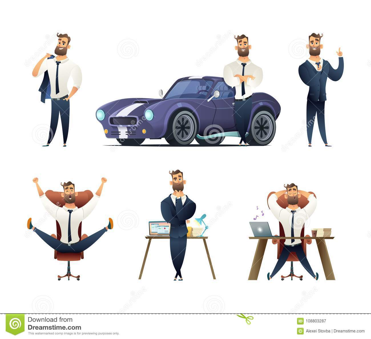 Download Charming Beard Businessman Collection. Sucessfull Man Character. Set Of Business Man Character In Different Situations. Stock Vector - Illustration of professional, flat: 108803287