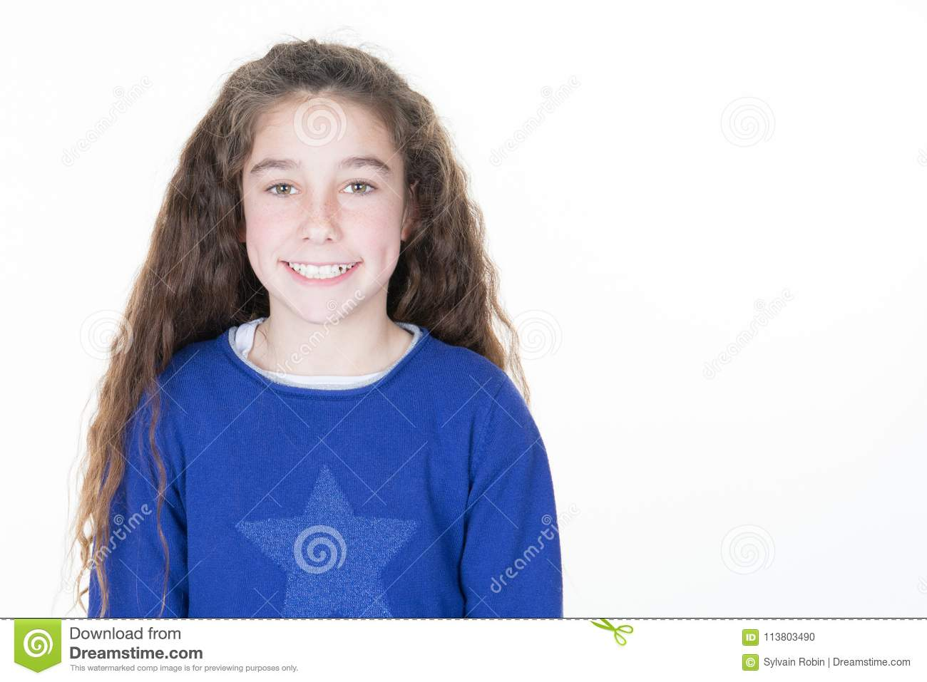 charming brunette curly little girl isolated on white background