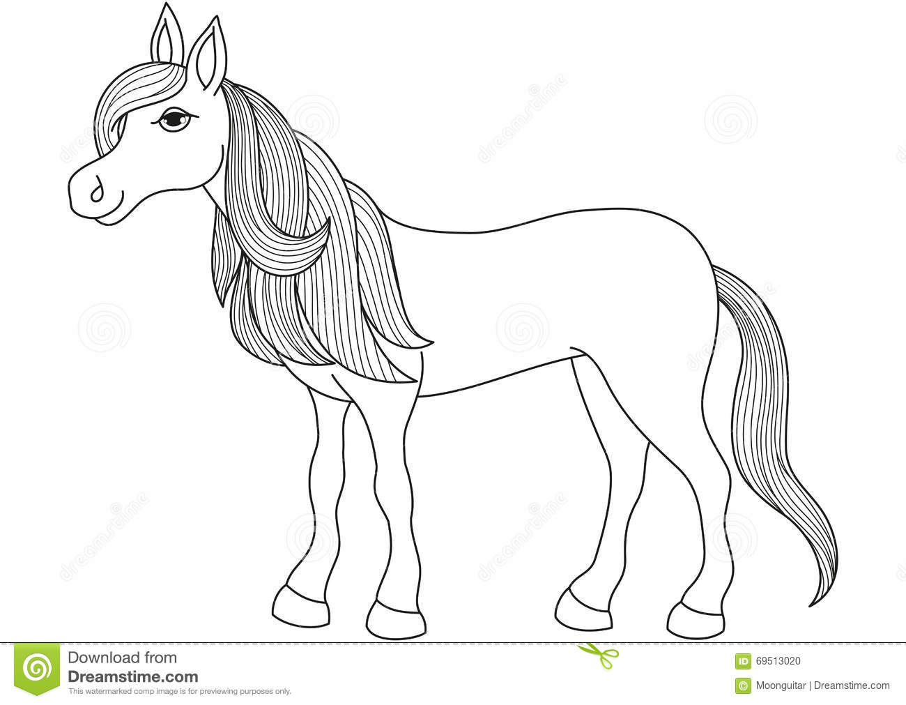 Charming cartoon horse with long golden mane and tail for Immagini cavalli da disegnare