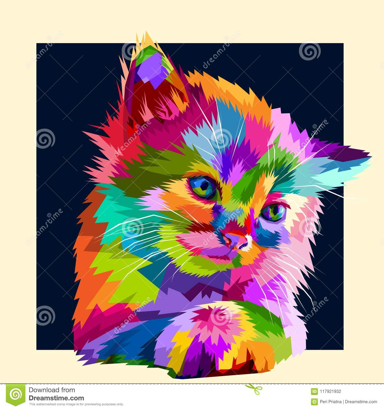 adorable colorful animal cat in style pop art stock vector
