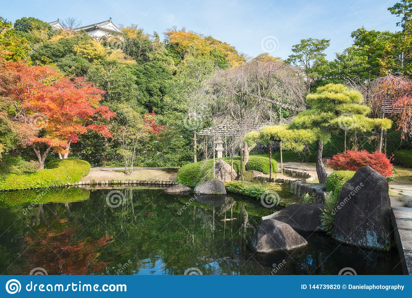 Charming corner of Koko-en Garden in autumn, in Himeji, Japan