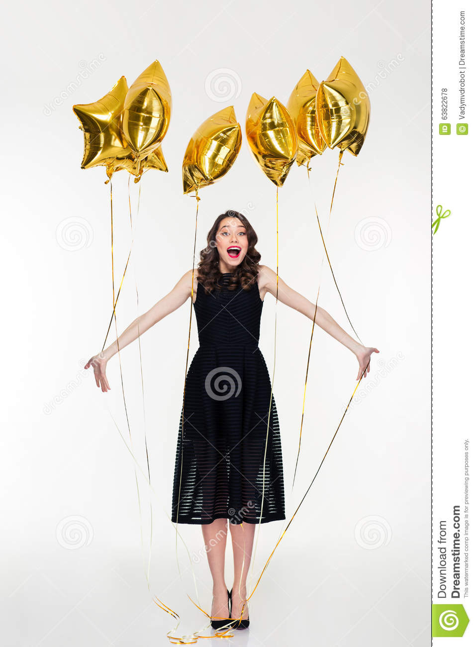 Charming Elated Happy Young Curly Woman Celebrate Her Birthday Stock