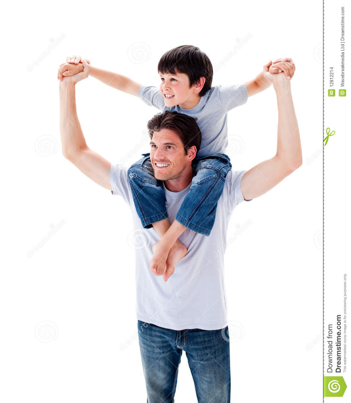 Charming Father Giving His Son Piggyback Ride Stock Images