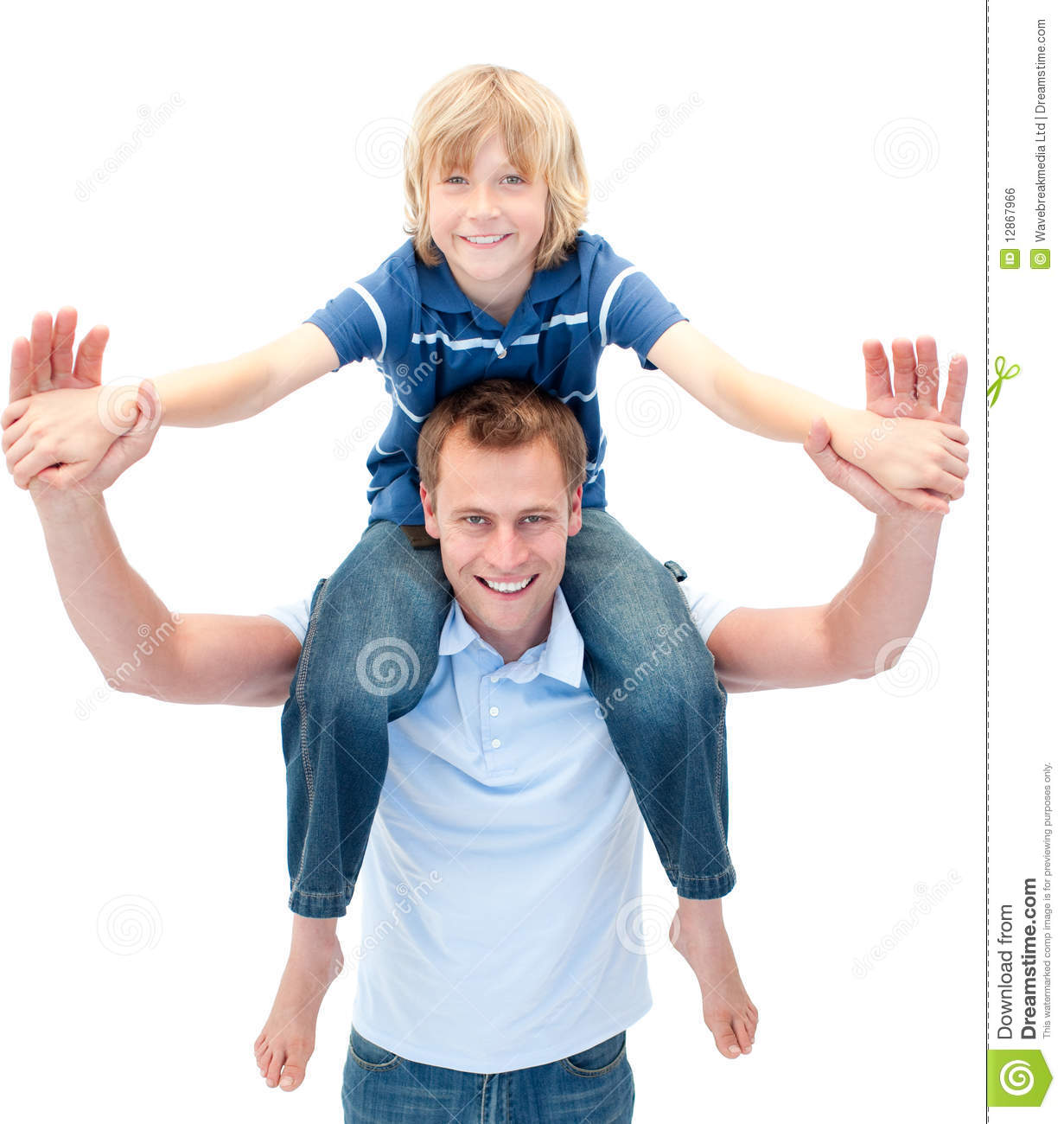 Charming Father Giving His Son Piggyback Ride Stock Photo