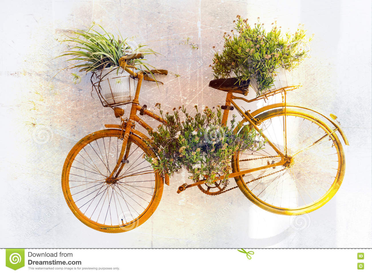 Charming floral street decoration with old bike retro for Decoration jardin velo