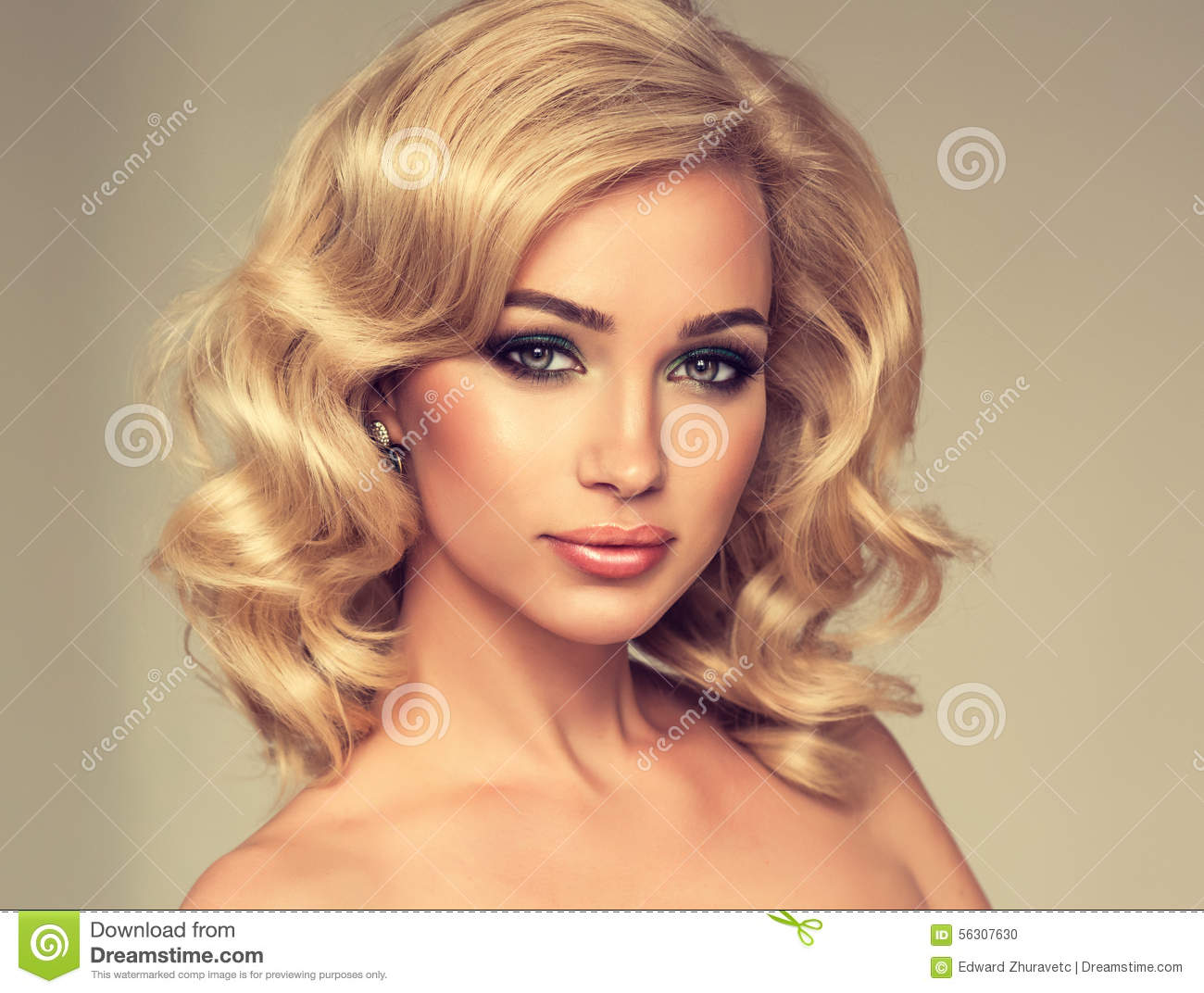 Charming Girl Blonde Curly Hair Stock Photo Image 56307630