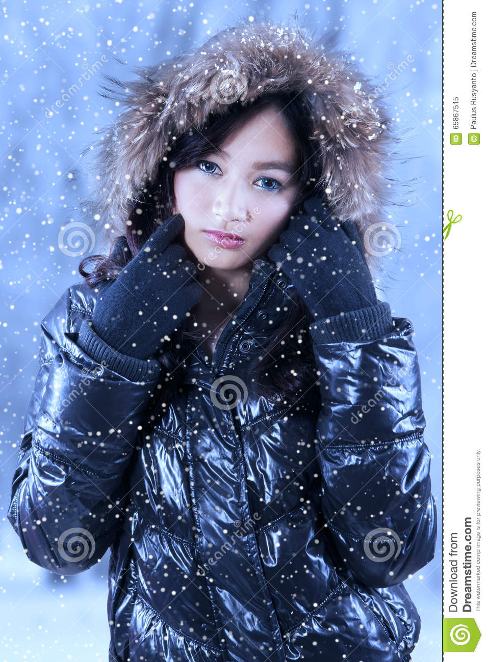 d14f9c827cc8 Charming Girl Wearing Winter Clothes Stock Image - Image of ...