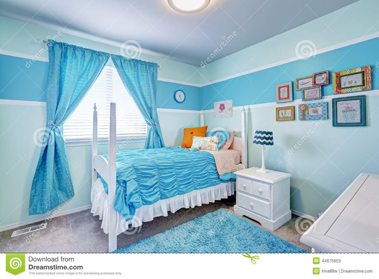 Charming Girls Room Interior In Blue Tones Stock Photo
