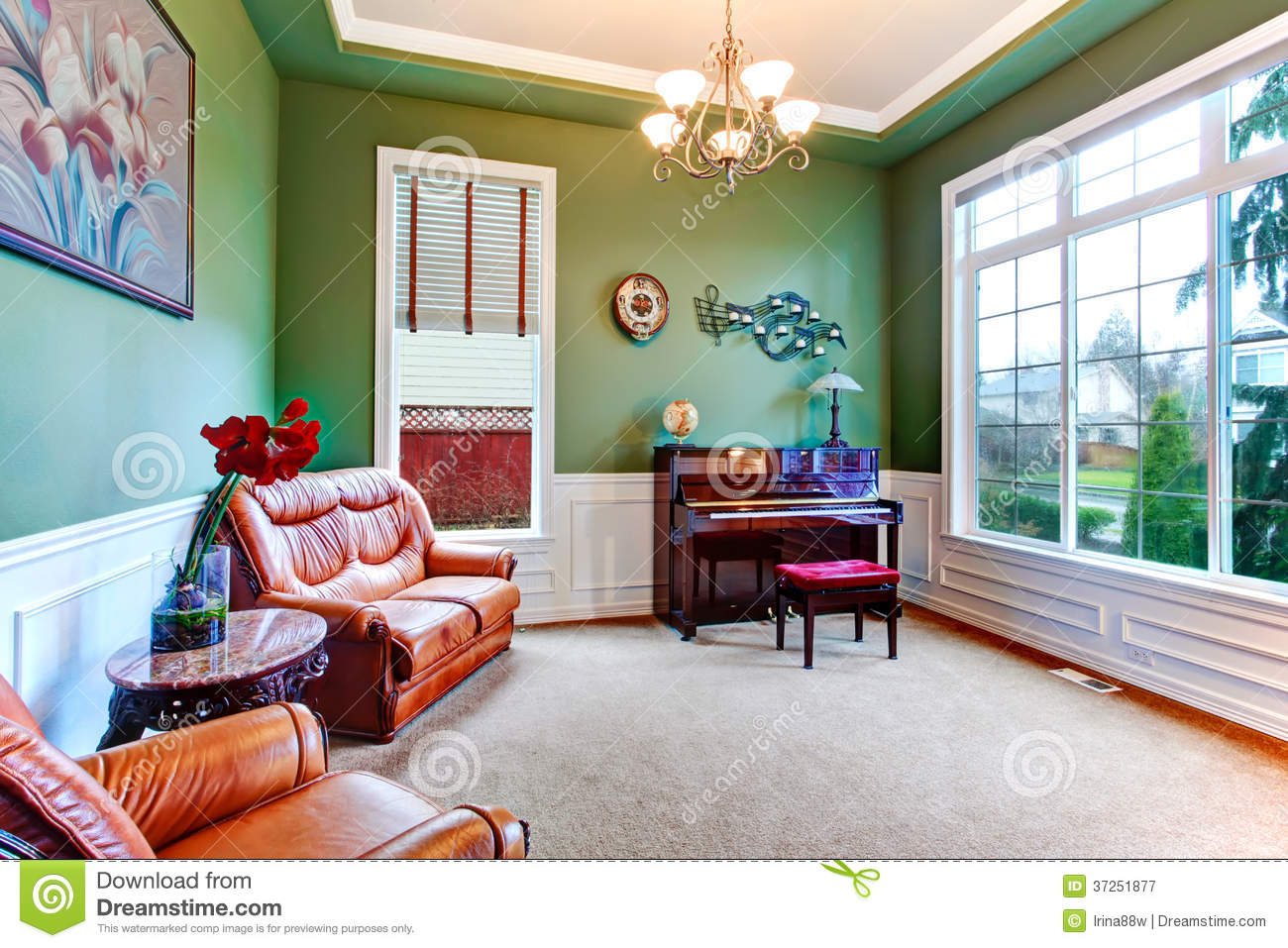 green living room charming green living room with piano stock image image 10047
