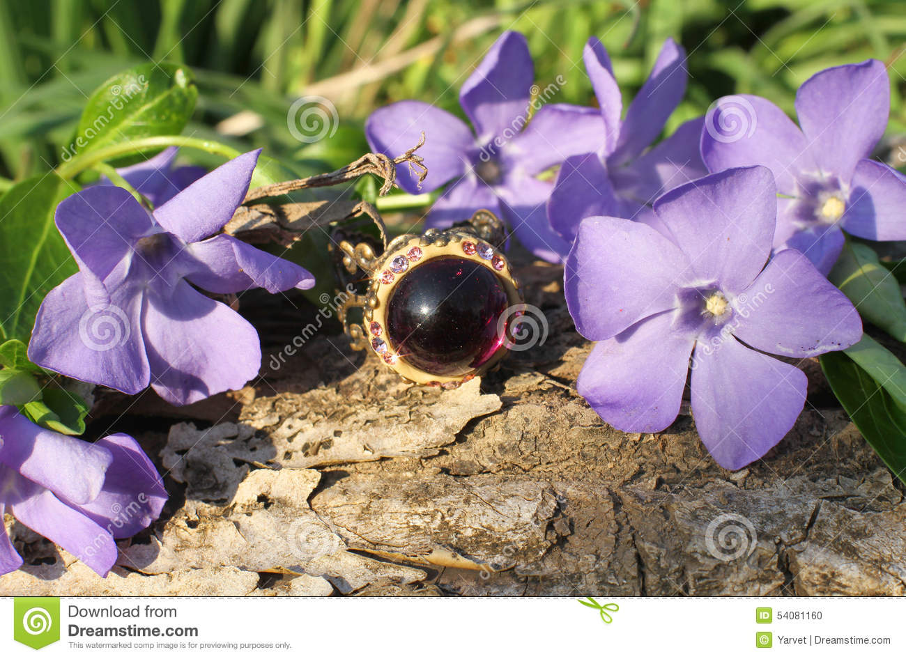 Charming Handmade glass ring on the nature background