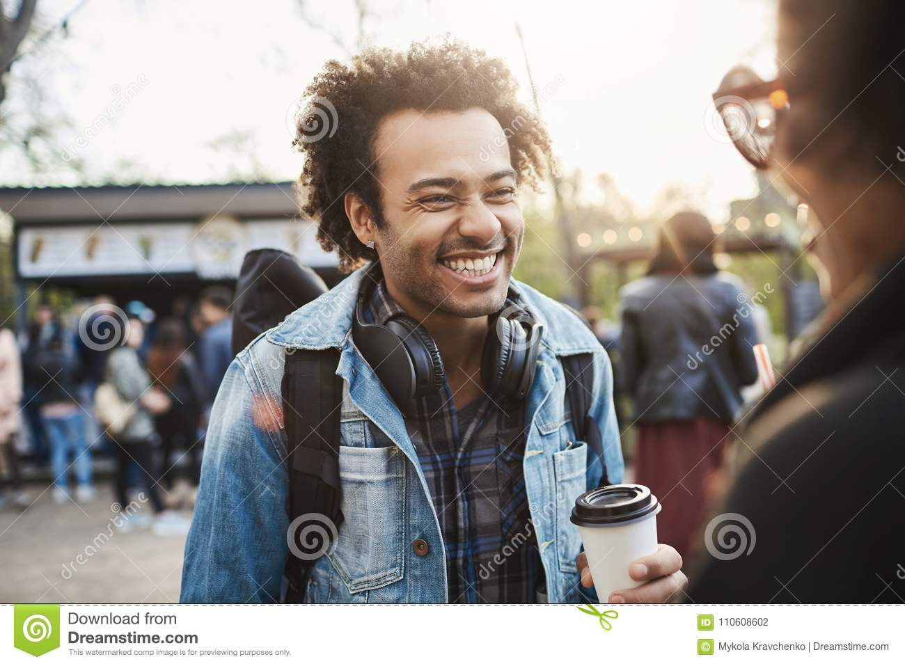 Charming Happy Boyfriend With Afro Hairstyle Smiling And