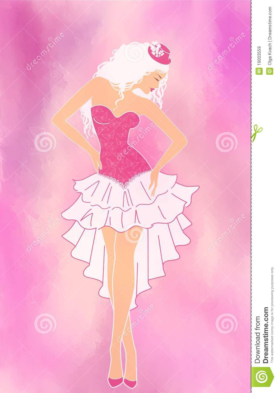 charming lady in hat on a pink background royalty free