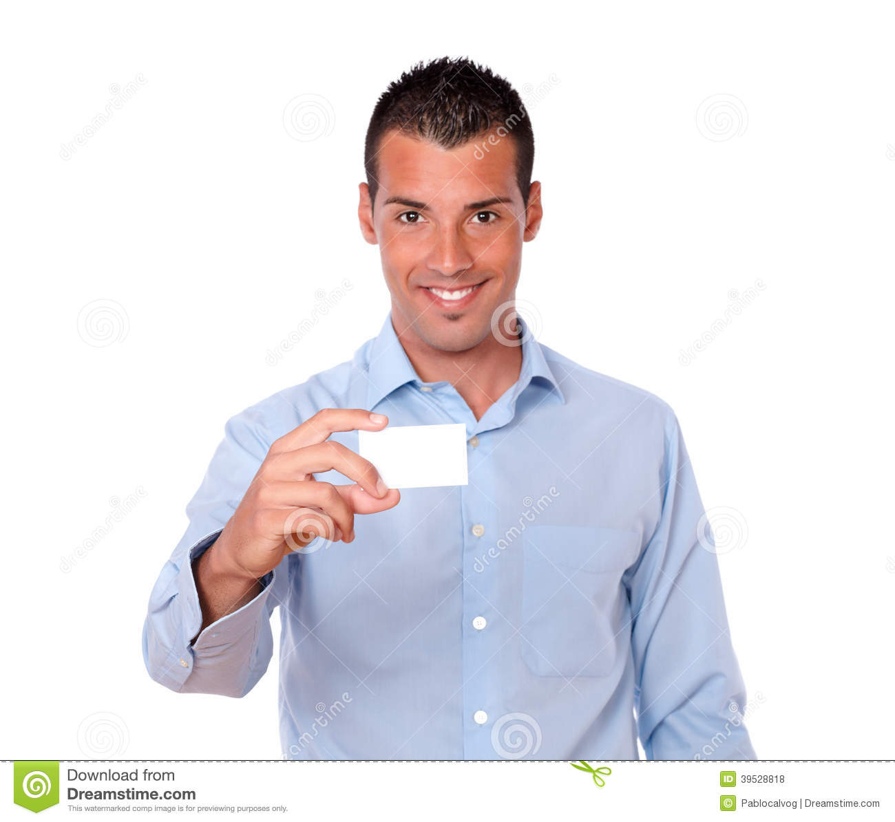 Charming latin man holding a blank business card