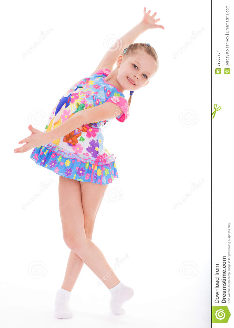 Charming Little Girl In Short Dress Stock Photo Image