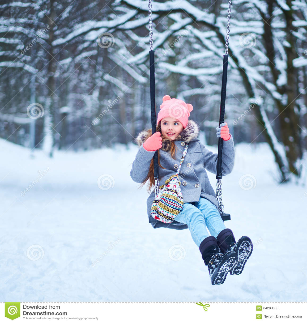 Outdoor Baby Swing >> Charming Little Girl On Swing In Snowy Winter Stock Photo - Image: 84280550