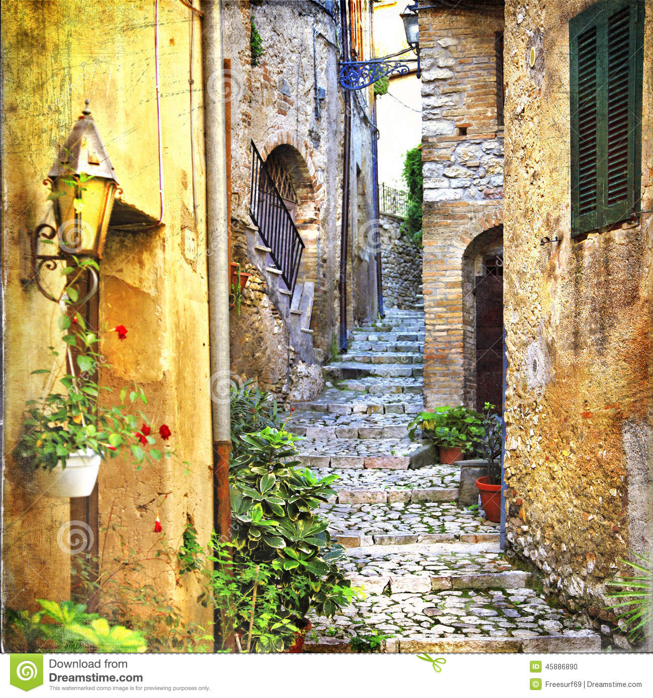 Charming old streets of mediterranean villages