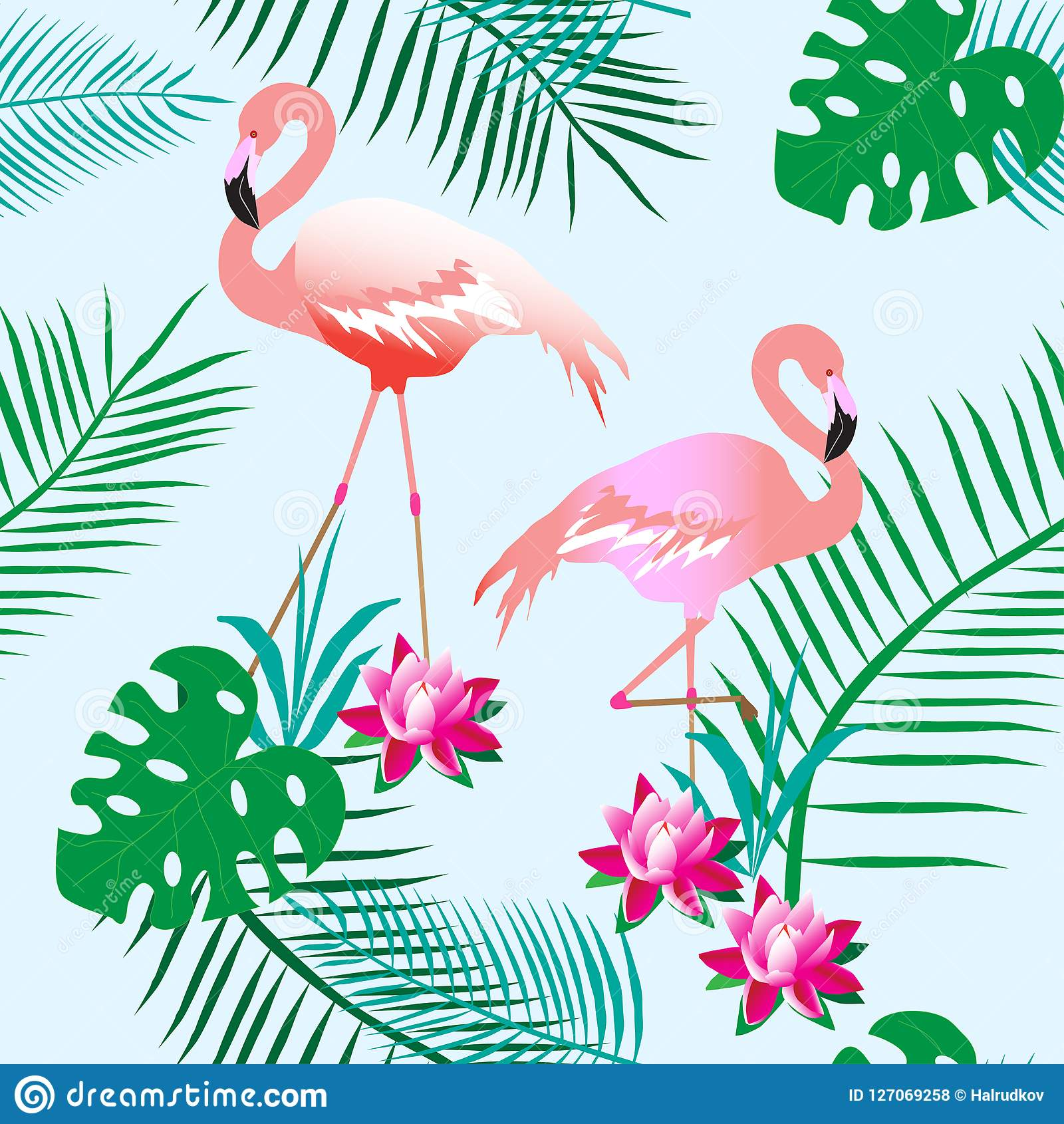 Charming pink flamingos. Tropical plants. Light background. Seamless pattern. Can be used for material, paper.