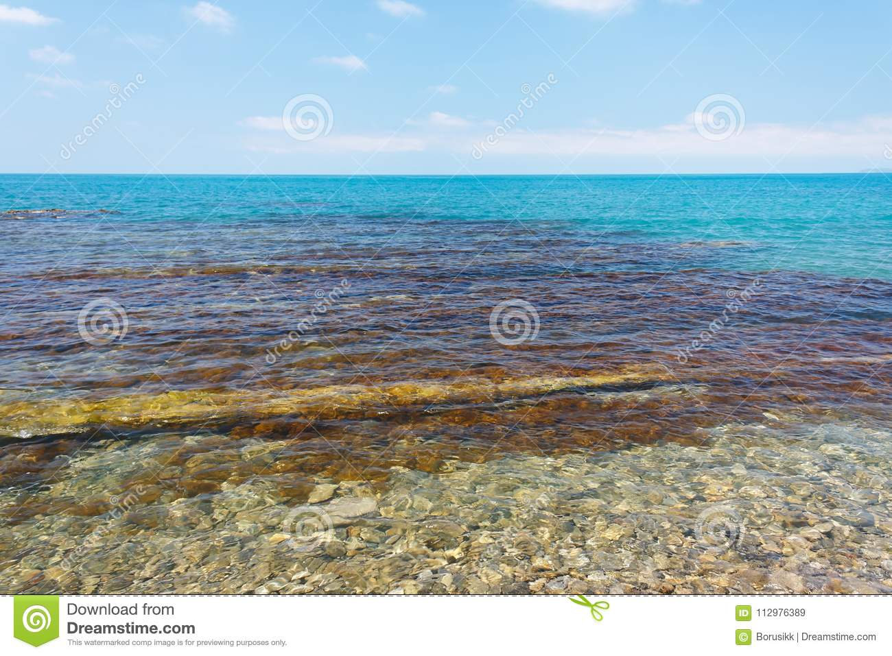 Charming sea view with coastal reefs and clear water