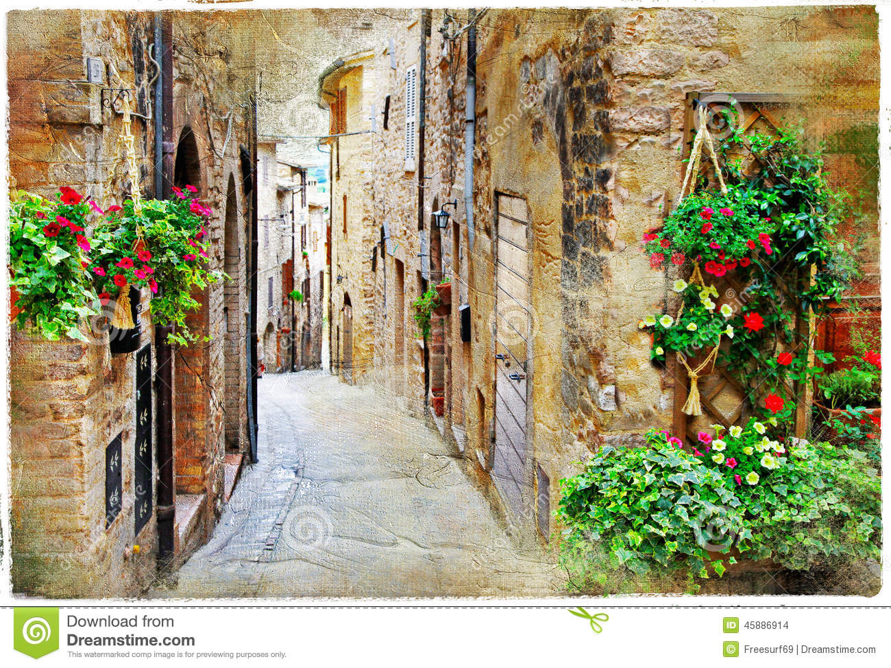Charming Streets Of Medieval Towns Spello Italy Stock