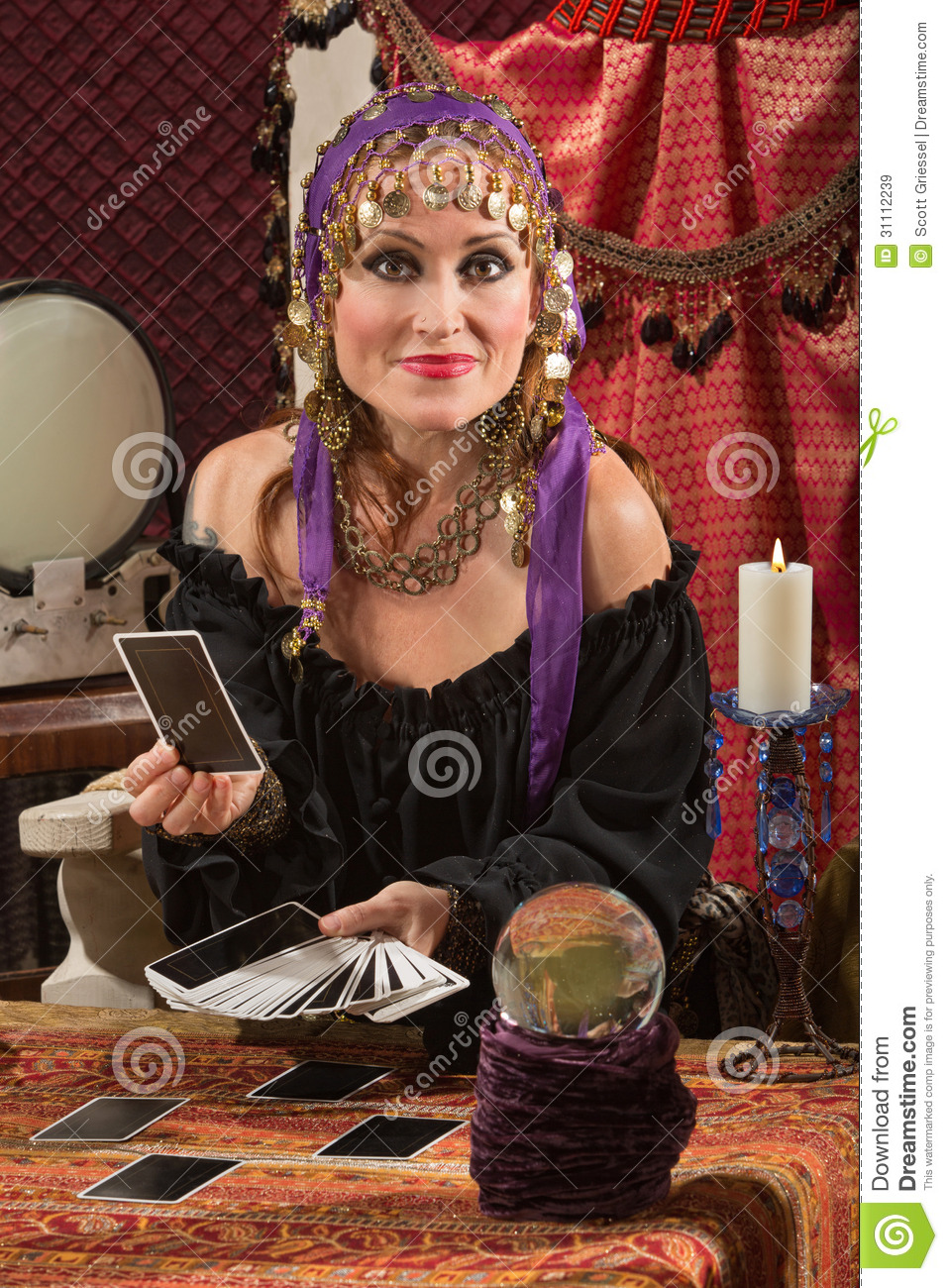 Charming Tarot Card Lady Stock Image. Image Of Pleasant