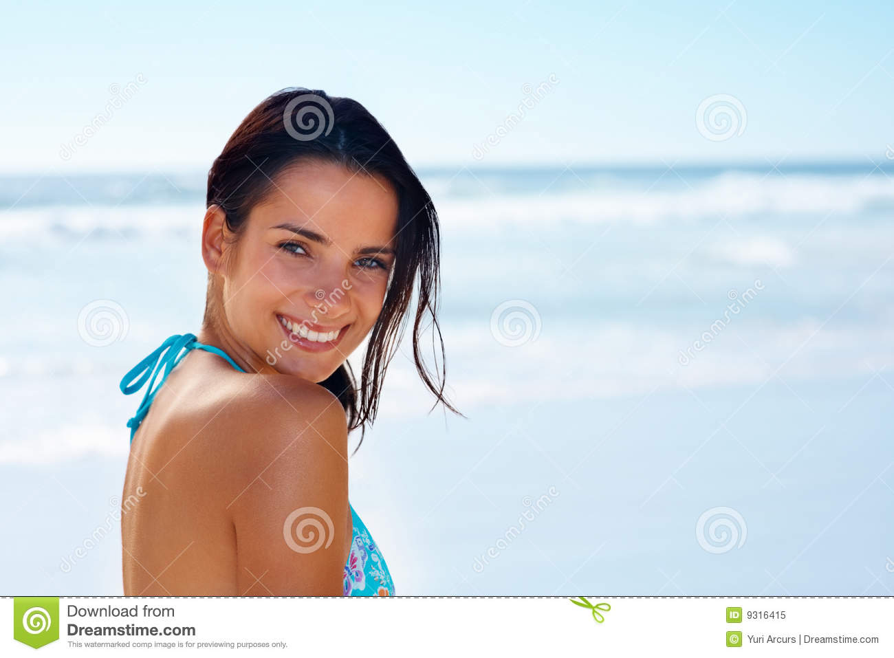 Royalty Free Stock Photo Charming Teenage Girl Smiling On The Beach Image 9316415