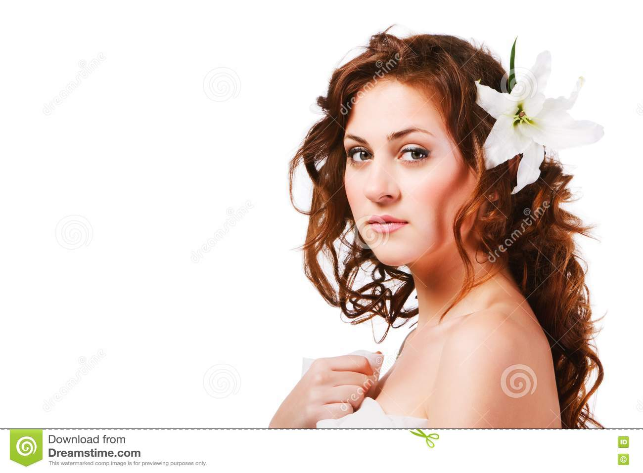 Charming young girl with a flower royalty free stock images image 16231409 - Charming teenage girls image ...