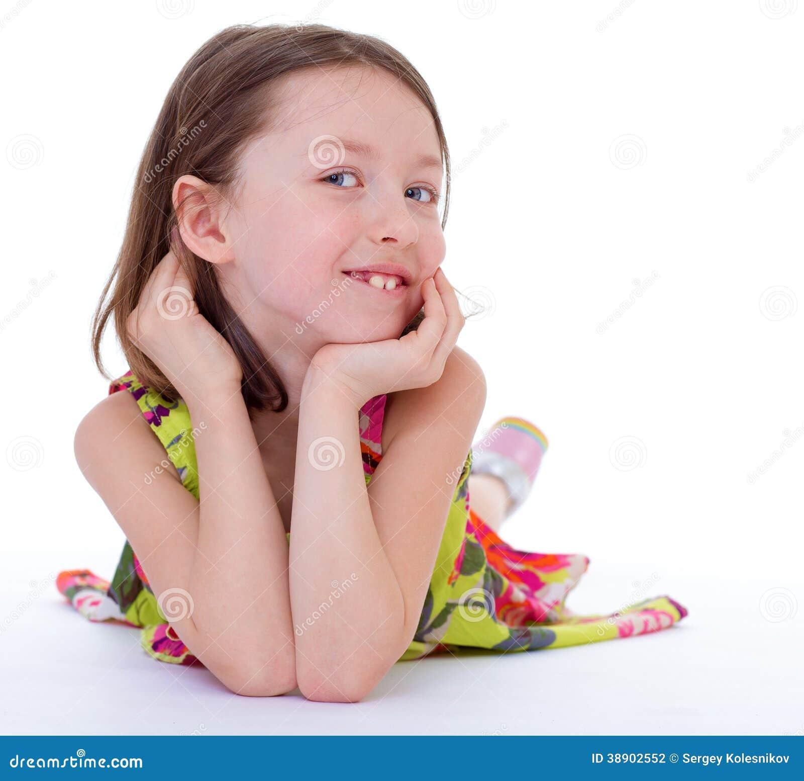 Charming Young Girl Lying On The Floor Stock Photo Image 38902552