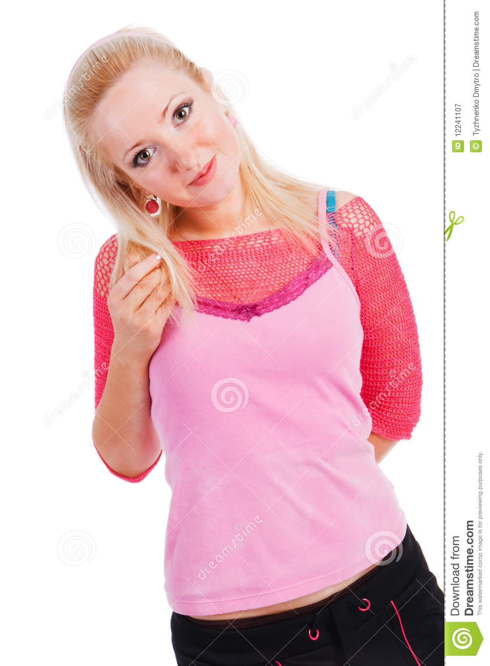 Charming young girl in pink blouse royalty free stock photography image 12241107 - Charming teenage girls image ...